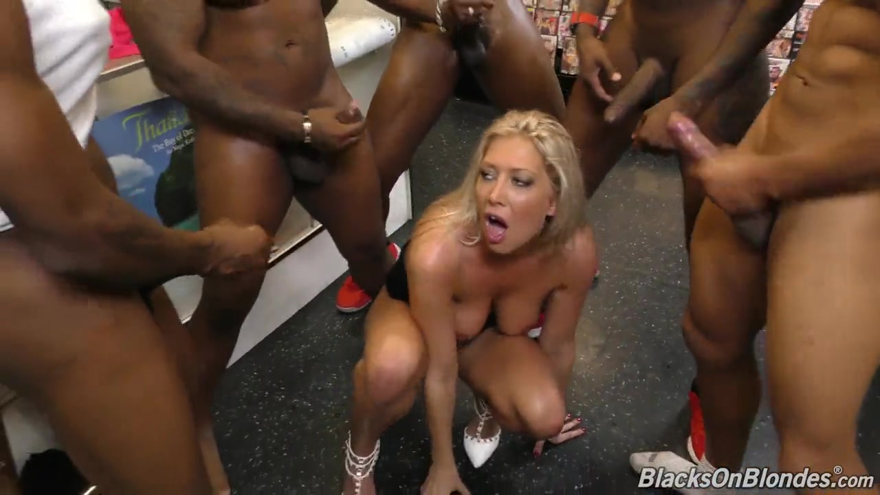 4 Porn Ganbang black gangbang for busty milf in sex shop