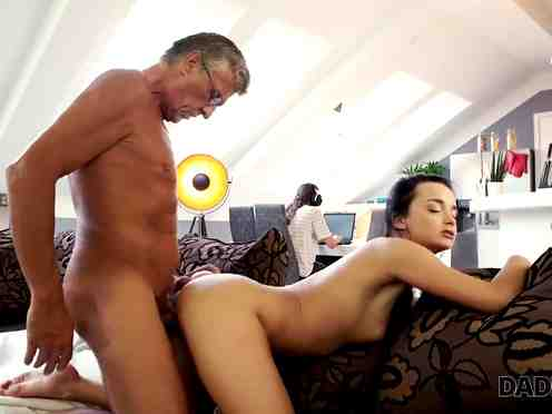 Girl fucks boyfriend's father behind his back